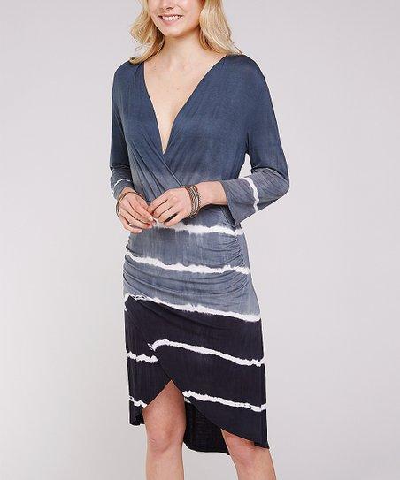 58f973c5a701 love this product Blue & White Tie-Dye Hi-Low Dress - Women
