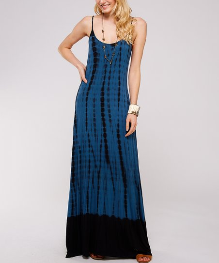 79a0be19b103 love this product Teal & Black Tie-Dye Maxi Dress - Women
