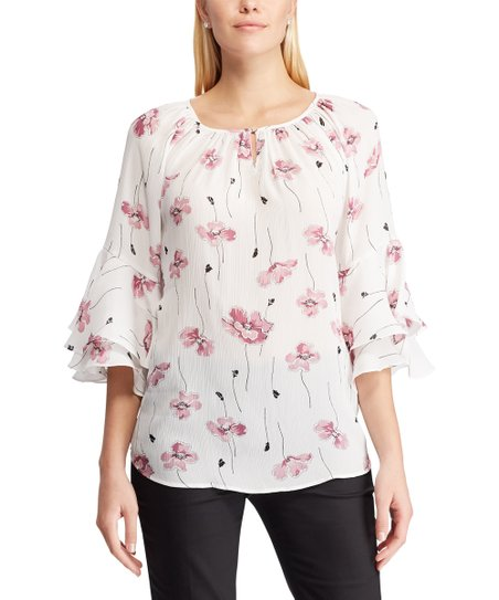 1174d9d0f8c Chaps White & Pink Floral Ruffle-Sleeve Peasant Top - Women