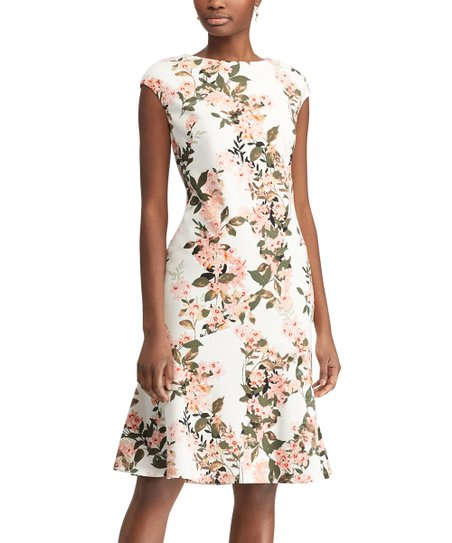 c6d43e17bf0ed2 love this product Off-White & Olive Floral Cap-Sleeve Fit & Flare Dress -  Women