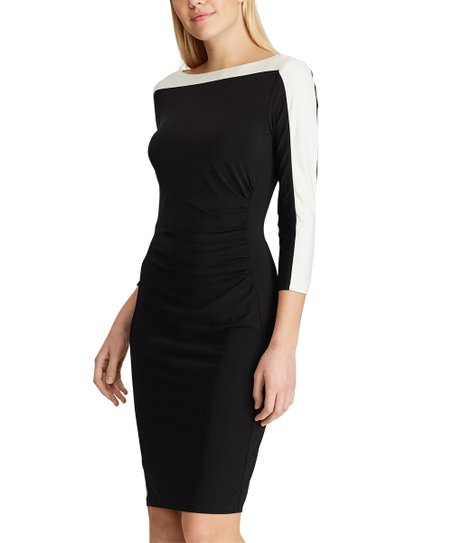 7de2ab82 love this product Black & Off-White Color Block Ruched-Detail Sheath Dress  - Women