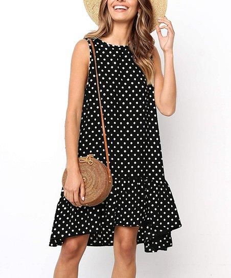 9833e75d76 love this product Black   White Polka-Dot Scoop-Neck Peasant Dress - Women    Plus