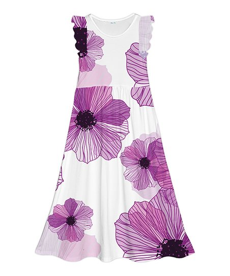 cd97d9a6522c love this product White & Purple Floral Angel-Sleeve Maxi Dress - Girls