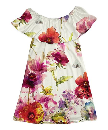 b1b75e0abe5b love this product Off-White   Red Floral Ruffle Off-Shoulder Dress - Girls
