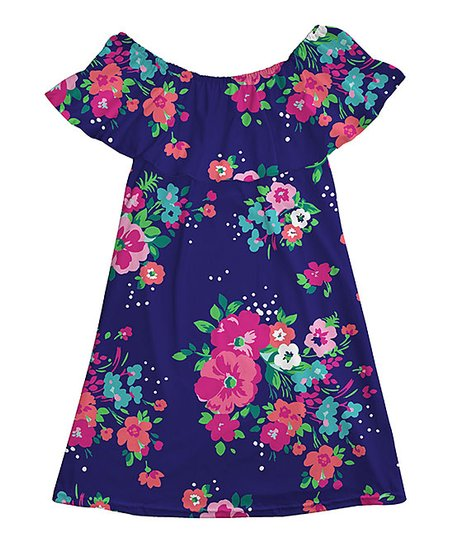 0d7093f959ee love this product Purple   Pink Floral Ruffle Off-Shoulder Dress - Girls