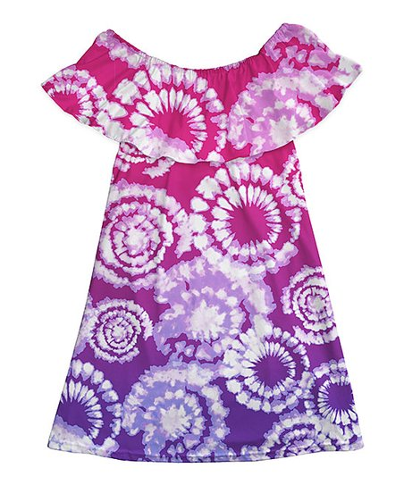 56838a2f1cf3 love this product Pink   Purple Clouds Ruffle Off-Shoulder Dress - Girls