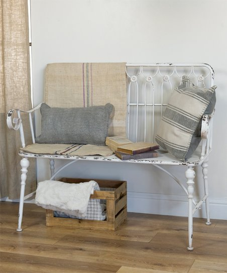 Swell American Mercantile White Distressed Metal Bench Zulily Theyellowbook Wood Chair Design Ideas Theyellowbookinfo