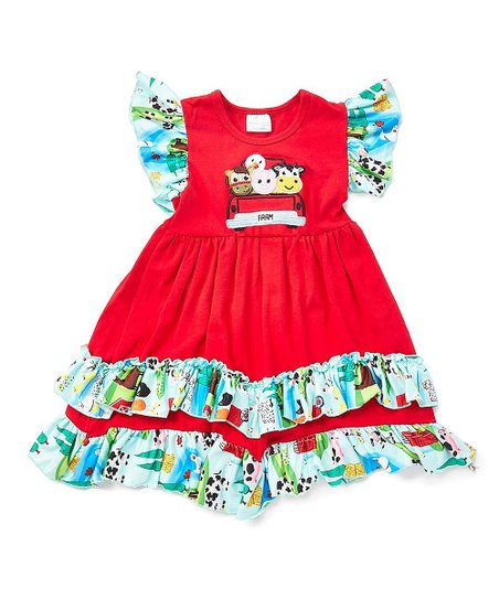4f354c20cd14 love this product Red & Blue Farm Animals Ruffle Hem Angel-Sleeve Dress -  Infant, Toddler & Girls
