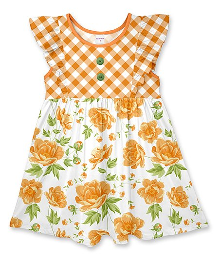da11a82fd8fd love this product Gold Plaid & Floral Button Angel-Sleeve Dress - Toddler &  Girls