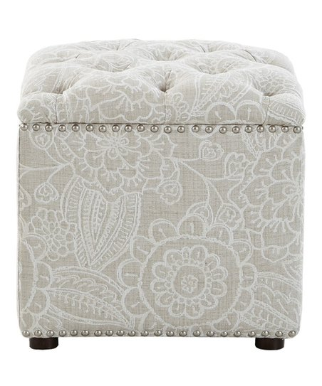 Astounding Main Green Natural Gray White Floral Tufted Storage Ottoman Gmtry Best Dining Table And Chair Ideas Images Gmtryco