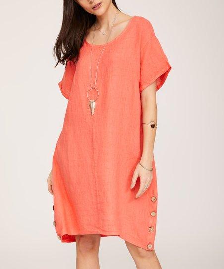 76aaf95d8d9f Ornella Paris Coral Pocket Button-Accent Linen Shift Dress - Women ...