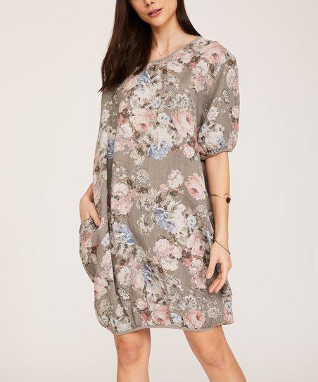 33a324339ae Ornella Paris Taupe Floral Pocket Linen Shift Dress - Women   Plus ...