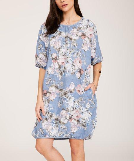 9c6d0c1979b Ornella Paris Denim Blue Floral Pocket Linen Shift Dress - Women ...