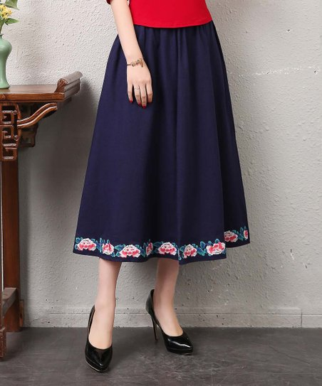 012cb51aa55 love this product Navy Pocket Embroidered-Hem Linen-Blend Midi Skirt - Women