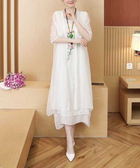 10372679 love this product White Embroidered Abstract Linen-Blend Sleeveless Dress &  Kimono - Women