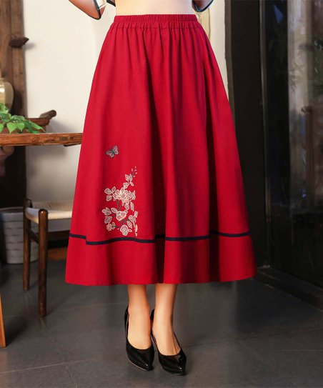 6ac34dc35 love this product Red Wine Pocket Embroidered Floral Linen-Blend Midi Skirt  - Women