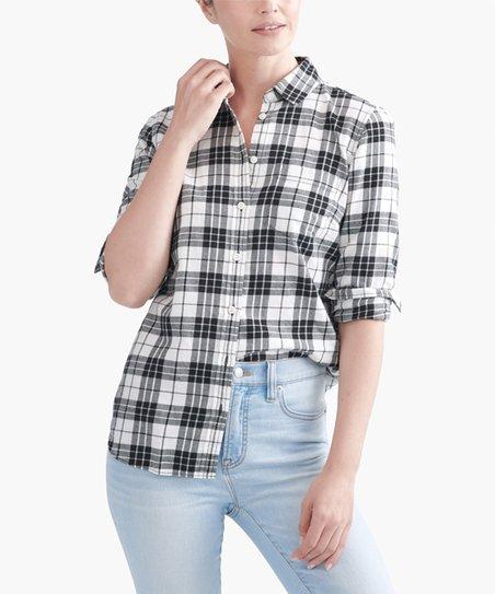 5405135c J.Crew Mercantile Black & White Plaid Flannel Button-Up - Women | Zulily