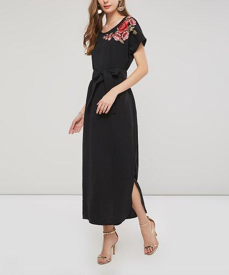 9a018f4b2 Amasoo Black Floral Embroidery Tie-Waist Maxi Dress - Women   Zulily