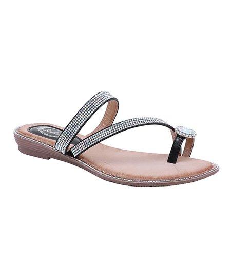 bf84c089b3de love this product Black Rhinestone Medallion Cross-Strap Toe-Loop Sandal -  Women