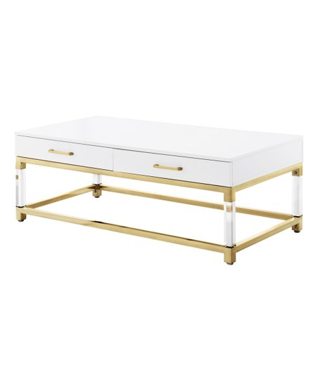 Brilliant Inspired Home White Goldtone Two Drawer Jerome Coffee Pabps2019 Chair Design Images Pabps2019Com