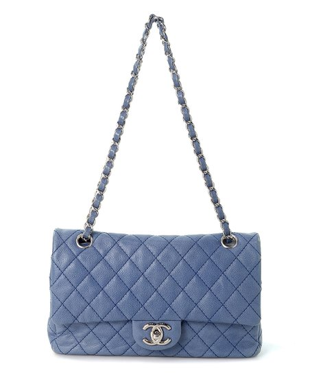 eaba6a40b love this product Pre-Owned Blue Caviar Classic Double-Flap Leather  Shoulder Bag