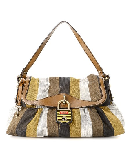 322bc8f53b7f love this product Pre-Owned Olive   Brown Stripe Chef Shoulder Bag