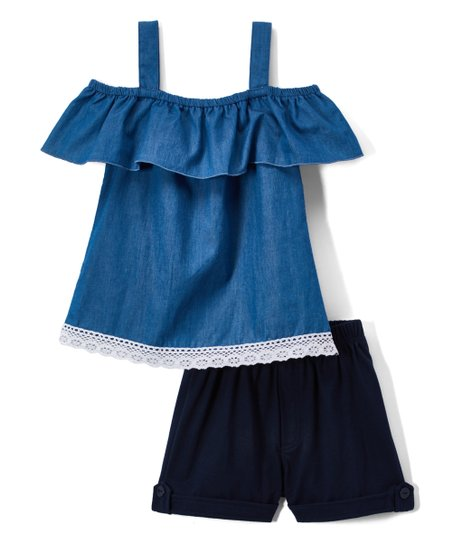 5f212d0fa1379 love this product Blue Off-Shoulder Lace-Accent Peasant Top   Navy Shorts -  Girls