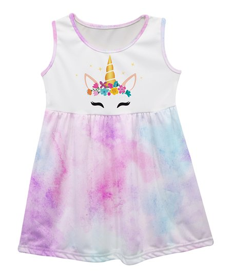 a16059330581 love this product White & Pink Watercolor Unicorn Face Sleeveless Dress -  Infant, Toddler & Girls