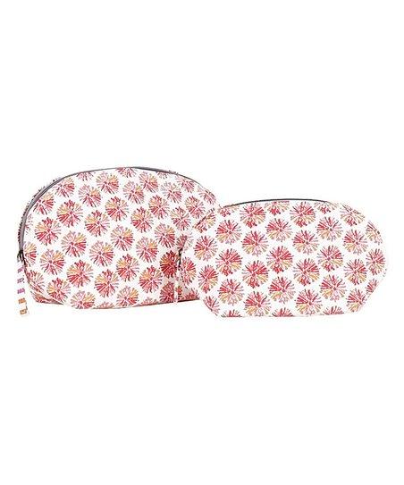 Rockflowerpaper Pom Pom Pink Two Piece Cosmetic Bag