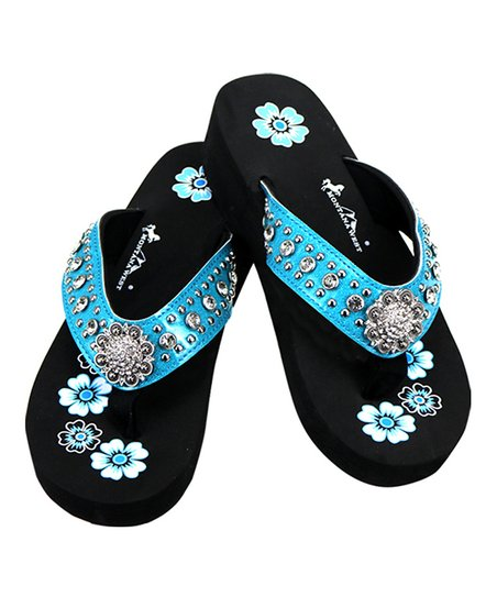 20d1486b2 love this product Turquoise   Black Floral Rhinestone-Accent Sandal - Women