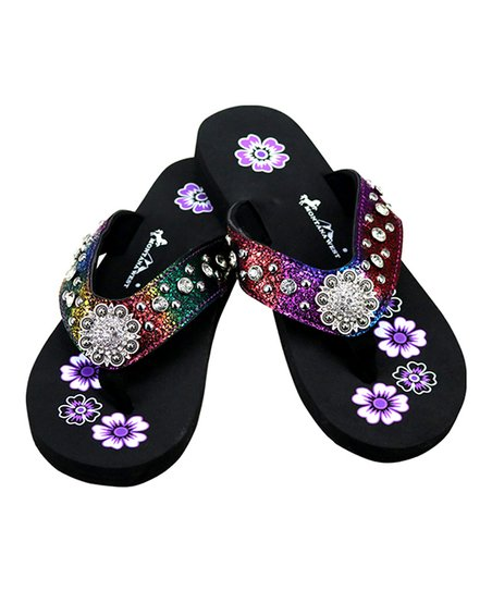 22d3794ac love this product Purple   Black Floral Rhinestone-Accent Sandal - Women