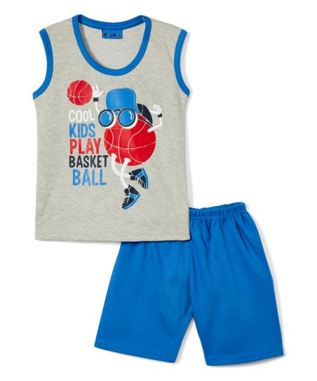 6e226850389 love this product Gray & Bright Blue 'Cool Kids Play Basketball' Tank &  Shorts - Infant