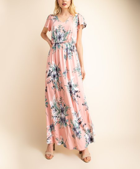 Peach Floral Short-Sleeve Maxi Dress - Women | Best Price and Reviews |  Zulily