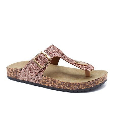 68a05799f44a love this product Rose Gold Glitter Kylie T-Strap Sandal - Women
