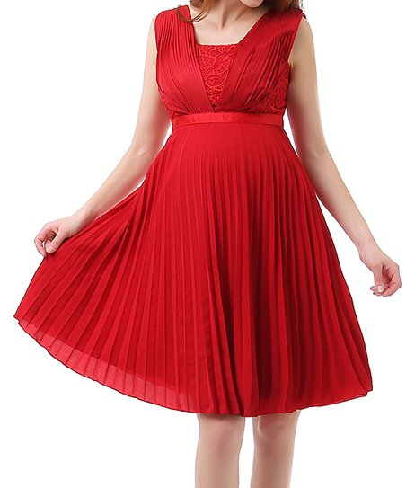 Momo Maternity Red Pleated Maternity A Line Dress Best Price And Reviews Zulily