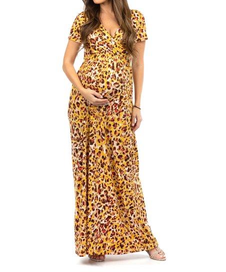 2c0deeaf0955b Mother Bee Maternity Gold Cheetah Maternity Maxi Dress - Women | Zulily