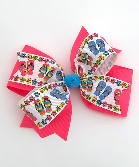 6c0392e20 Fairy Bow Mother Tutti Frutti Pink   Turquoise Flip-Flop Hair Bow ...