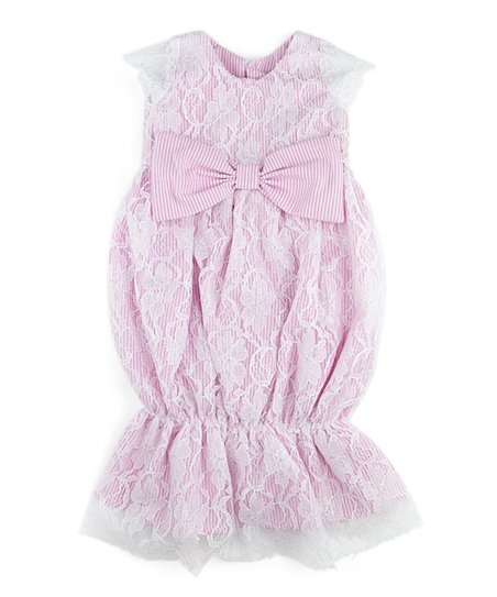 ae81f2a12e128 Caught Ya Lookin' Pink Seersucker & White Lace Virginia Bunting Gown -  Infant