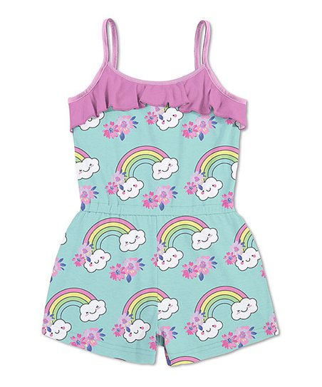 b32fdbd08 love this product Pink & Turquoise Floral Rainbow Sleeveless Ruffle Romper  - Toddler & Girls