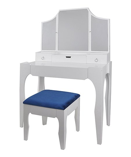Super White Blue Vanity Bench Zulily Caraccident5 Cool Chair Designs And Ideas Caraccident5Info