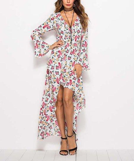 764d22c4b4 love this product White & Pink Floral Ruffle Hi-Low Dress - Women & Plus