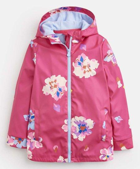 hottest sale bright n colour buy cheap Joules Bright Pink Floral Raindance Raincoat - Toddler