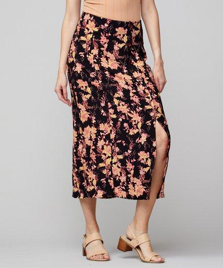 06830fbaab Free People Black & Pink Floral Retro Love Midi Skirt - Women   Zulily
