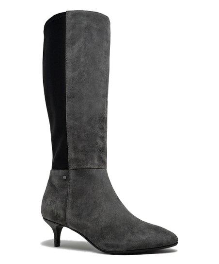 Sudini™ Charcoal Beverly Suede Kitten Heel Boot - Women  9dc5fde86