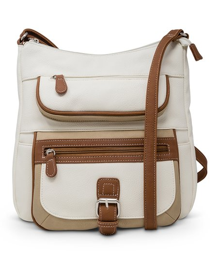 4438a34ab71320 love this product White & Cognac Flare Crossbody Bag