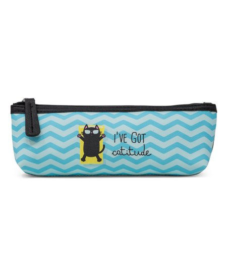 Stella and Max Blue Wave 'I've Got Catitude' Brush Cosmetic Bag
