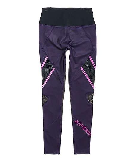 4049594023a23d love this product Midnight Purple Active Mesh Panel Leggings - Women
