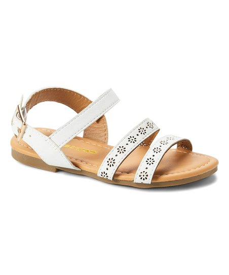 4200a6ea8f4 love this product White Floral Pointelle-Strap Sandal - Girls