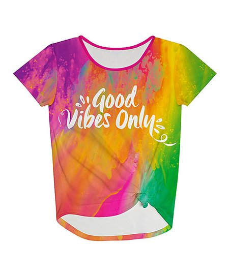 Love This Product Pink Green Tie Dye Good Vibes Only Knot Front Top Toddler S