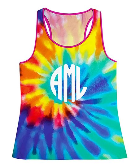 f262ceba93ba6 Monday's Child Rainbow Tie-Dye Monogram Tank - Toddler & Girls